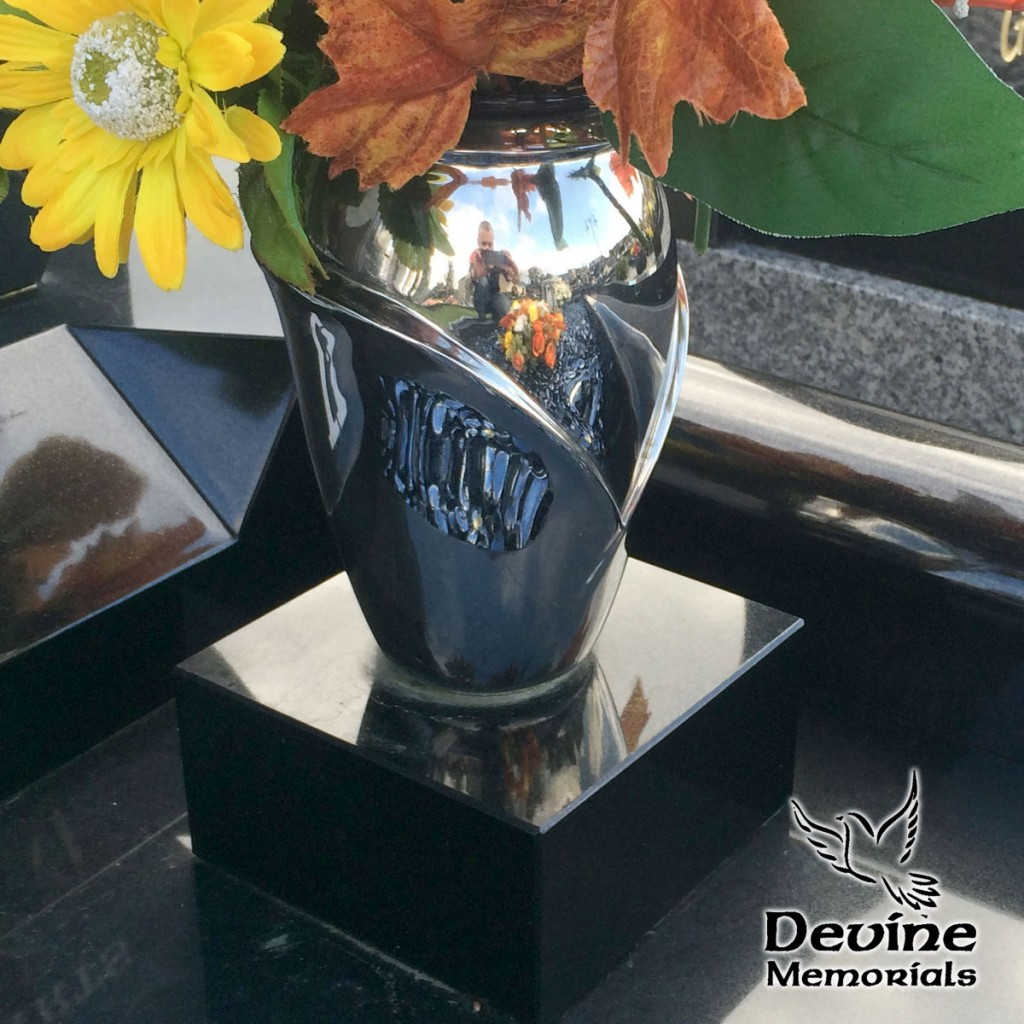 Silver Flower Vase w. Granite Base